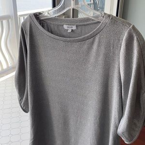 Reiss silver metallic sweater with bell sleeve S